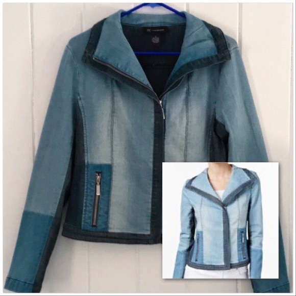 INC International Concepts Jackets & Blazers - INC Denim Jean Jacket Colorblocked Moto w/ Collar